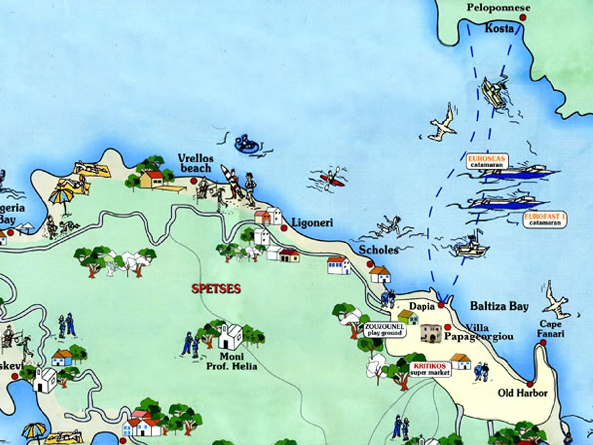 Links from Spetses Island Greece Spetses Map